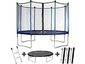 Trampolin / cama elástica Happy - Ø 4.25 m - con malla + escalera + covertura+ kit de anclaje