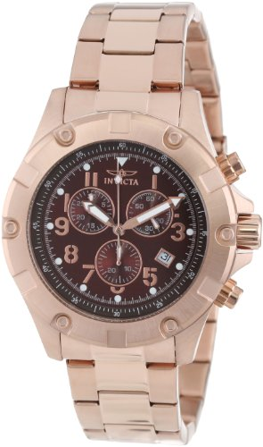 Invicta Men's 13622 Specialty Chronograph Brown Dial 18K Rose Gold Ion-Plated Stainless Steel Watch