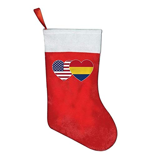 coconice Romania USA Flag Twin Heart Personalized Christmas Stocking by coconice