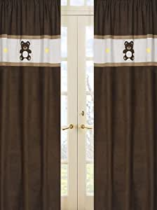 Chocolate Teddy Bear Window Treatment Panels - Set of 2