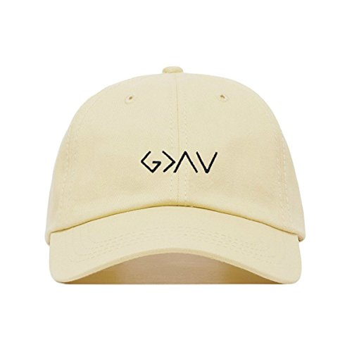 Profile Chino Twill Cap (God Is Greater Than The Highs and Lows Dad Hat, Embroidered Baseball Cap, 100% Cotton, Unstructured Low Profile, Adjustable Strap Back, 6 Panel, One Size Fits Most (Multiple Colors) (Beige))