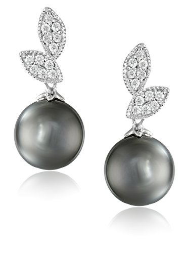 14k White Gold Natural Color Tahitian Cultured Pearl and Diamond Dangle Earrings (9-10mm) -