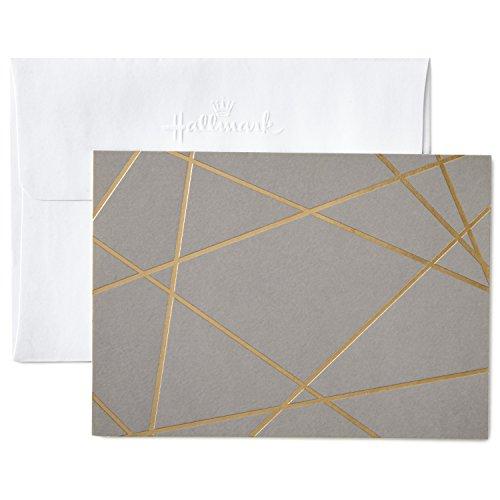 - Hallmark Blank Cards, Gold Foil Lines (10 Cards with Envelopes)