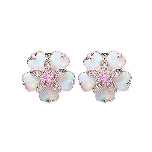 CiNily Flower Opal Earrings Stud, Pink Topaz Zircon Rhodium Plated Women Jewelry Gemstone Stud Earrings 15mm … (Opal Created Ring Silver Flower)