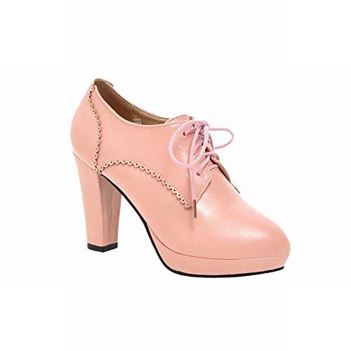 Carolbar Donna Allacciatura Dolce Eleganza Carino Chic Piattaforma Lolita Abito Cosplay Alti Stivali Tacco Grosso Verde Rosa