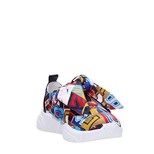 Sneaker Love Fiocco Lettering Multicolor Stampa Moschino Raso Donna Ds19mo11 Con Running ROR4d