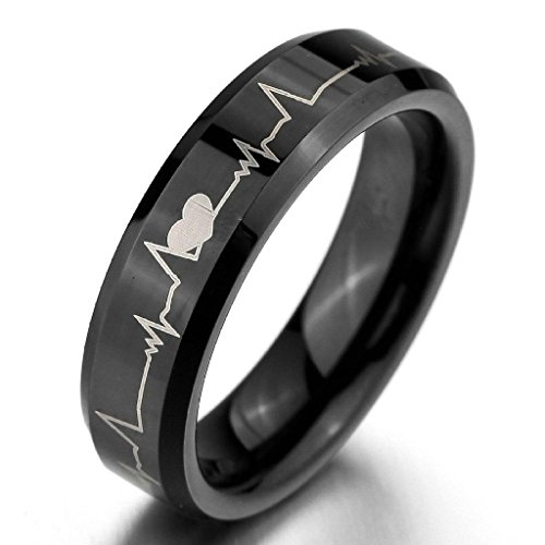 Epinki,Fashion Jewelry Men's Wide 6mm Tungsten Rings Bands Black Heart Comfort Fit Valentine Love Couples Promise Wedding Engagement Size - Sale Friday Black Canadian