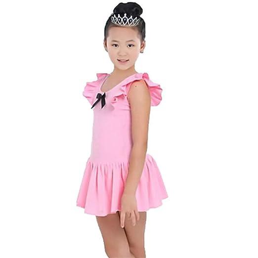 ChenYongPing Vestido Maillot de Ballet Danza Niñas Algodón Falda ...