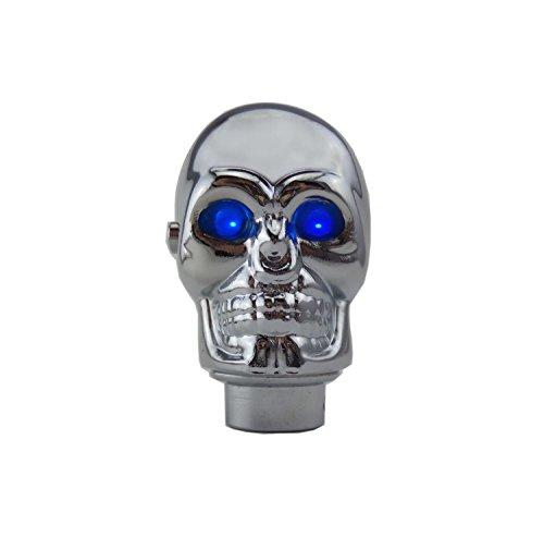 Chrome Gear Shift Knob (TESWNE Silver Chrome Skull Stick Shift Knob LED Lights Gear Shift Knob Manual Handle Shifter Knobs - Blue Eyes)