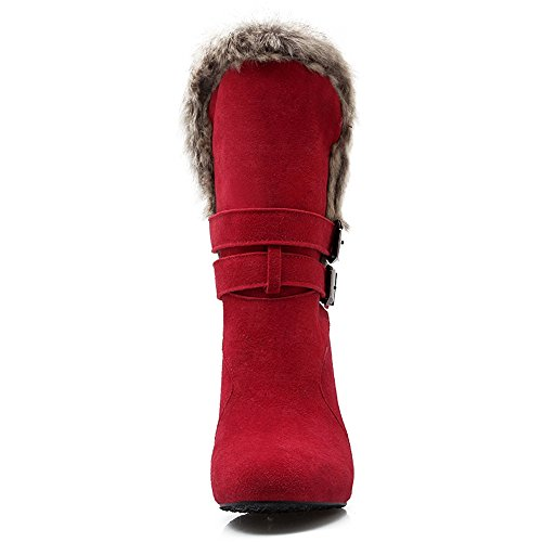 COOLCEPT Women Fashion Winter Boots Pull On Red PJSkG