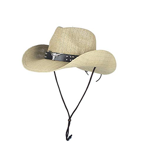 Women's Elegant Popular Cowboy Hats Summer Sun Hats 100% Straw Women Men Hollow Western Cowboy Hat Dad Lady Sombrero Hombre Beach Holiday Seaside Panama Jazz Sun Hat Size 56-58CM Men's Fashion Hot Sal