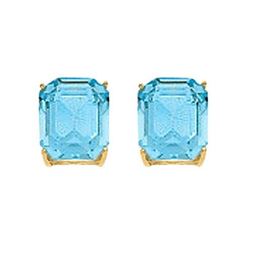 Boucled'oreille or 18k aquamarine carrée en pierre 12mm. [AB2110]
