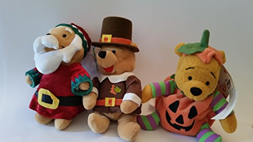 Three Winnie the Pooh Holiday plush! Santa Claus, Pilgrilm and Halloween Pumpkin! approx 7