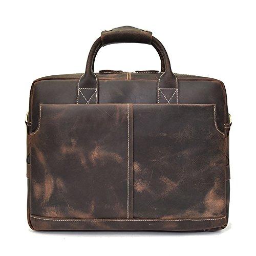 "100% Crazy Horse Leather Maletín Hombres Grandes Messenger Shoulder Handbags Con Correa De Hombro Ajustable 15"" Laptop Bag Para Office Work School Travel Brown1"