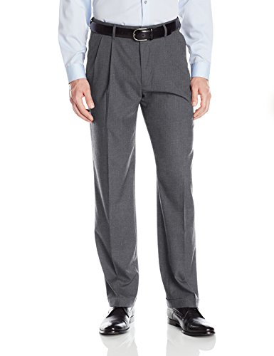 Haggar Men's Premium Stretch Solid Gabardine Expandable Waist Pleat Front Dress Pant, Charcoal, (Pleat Front Pant)