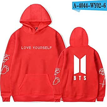 Cap Sweatshirt Bangtan Boys/Men K-pop Moletom Fans Clothes,Red,XXL