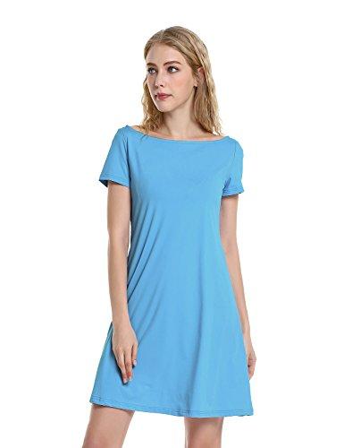 de Manche Plage Tunique Courte Ligne Blouse Robe Bleu Amincissante Mini Robe STYLE Femme ZAN Robe Chic Et Elgante A Slim Sexy Loose Courte Casual nPtUwx