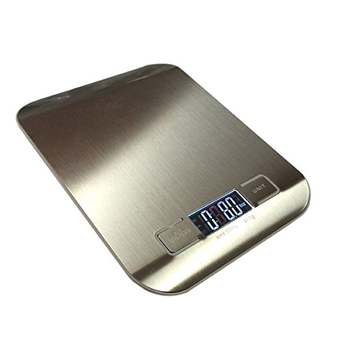 Stainless Steel Digital Kitchen Weight Scale BY HUB – 11lb/5kg Professional Flat Accurate Food Weighing Scale with Electronic display