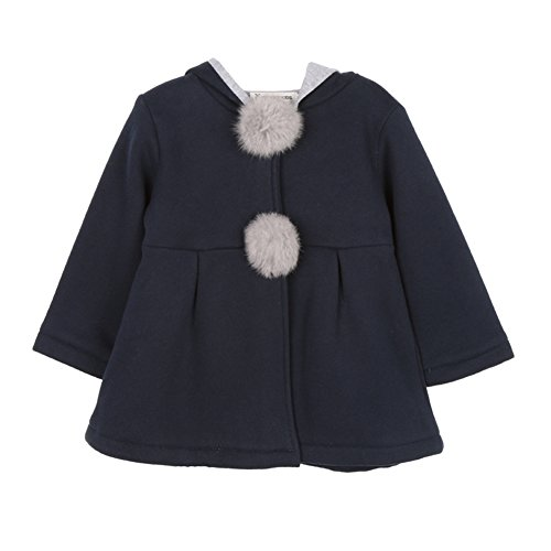Weixinbuy Toddler Girl Rabbit Ear Coat Kids Baby Winter Outwear Overcoat Jacket (2-3T, Blue) by Weixinbuy