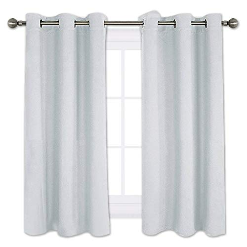 NICETOWN Room Darkening Draperies Curtains Panels, Window Treatment Thermal Insulated Grommet Room Darkening Curtains/Drapes for Bedroom (2 Panels,42 by 45,Platinum-Greyish White)