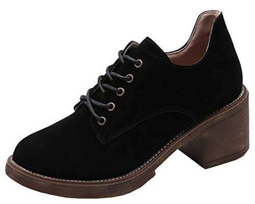 IDIFU Women's Retro Lace up Low Top Oxfords Shoes with Heels (Black, 4 B(M) US) by IDIFU