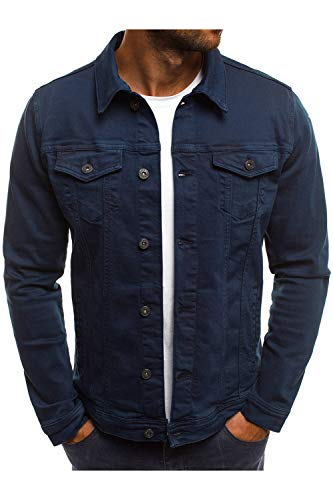 Hakjay Men's Unlined Denim Jacket Slim Fit Jeans Coat Long Sleeve Outerwear