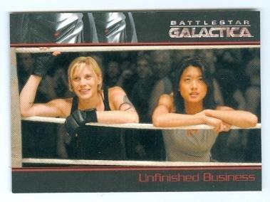 Battlestar Galactica Trading Cards - Katee Sackhoff and Grace Park trading card Battlestar Galactica #30 Boomer and Starbuck