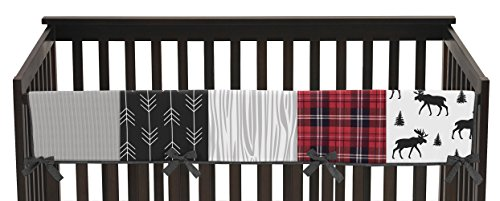 Sweet Jojo Designs Grey, Black and Red Woodland Plaid and Arrow Long Front Crib Rail Guard Baby Teething Cover Protector Wrap for Rustic Patch Collection - Flannel Moose Gray