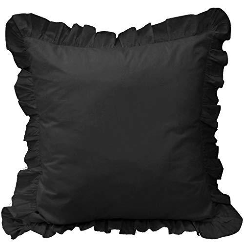 White House Black Ruffle Pillow Shams Set of 2 - Luxury 550 Thread Count 100% Egyptian Cotton Cushion Cover Euro Size Decorative Pillow Cover European Pillow Sham (2 Pack, Euro 26'' x 26'')