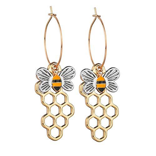 Aland Earrings,Fashion Women Enamel Hollow Bee Honeycomb Dangle Long Pendant Earrings Jewelry  Silver