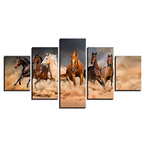 GYIHKLBS 5 Pieces Painting Canvas Paintings Wall Art Framework 5 Pieces Galloping Horses Poster HD Prints Running Steed Pictures for Living Room Home Decor,No Frame,10x15 10x20 10x25cm