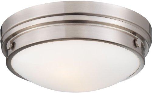 84 Minka Lavery Flush Mount (Minka Lavery 823-84 2 Light Flush Mount in Brushed Nickel Finish w/Clear Glass w/White Paint Inside, Brushed Nickel)