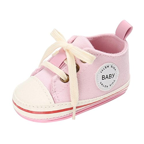 GBSELL Baby Boys Girls Canvas Rubber Sole Anti-slip Sneaker First Walkers Shoes 0-18 Months (Pink, 0~6 Month)