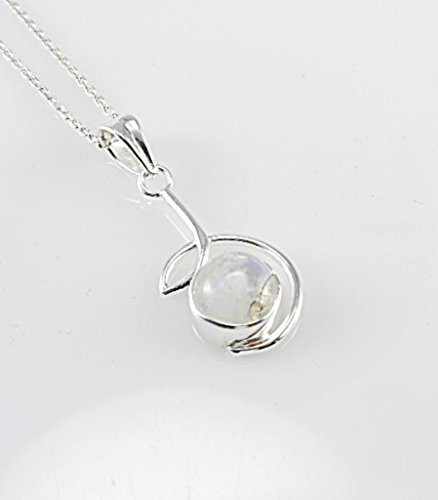 Free 16' Chain - Sterling Silver Natural Moonstone Circle Wire Pendant Necklace 16'' Chain