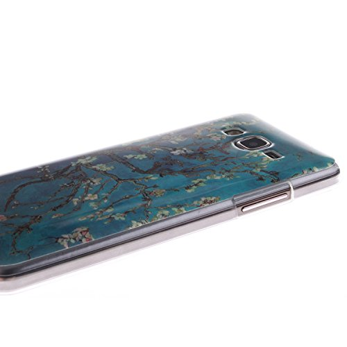 Samsung Galaxy G530H Funda,Ligero a Prueba de Choques Flexible Ultra Fino Suave TPU Parachoque Carcasa MAGQI Tecnología IMD Diseño Impreso Vendimia Serie Patrón [Absorción de Impacto] Resistente a los Melocotón Azul