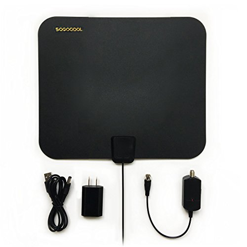 SOGOCOOL HDTV Antenna Indoor, 10-50 Mile Range with Amplifier, Antenna with Detachable Signal Booster