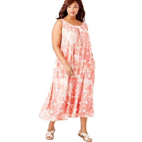 Woman Within Women's Plus Size A-Line Sleeveless Crinkle Dress - Vibrant Coral Delicate Floral, 14/16