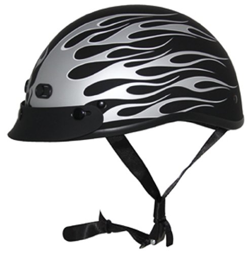(ZOX Nano Custom Flame Graphic Open Face Motorcycle Helmet (Matte Black/Silver, Small))