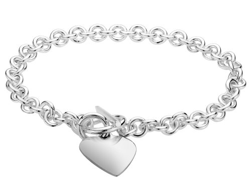 (Toggle Heart Tag Charm Bracelet in Sterling Silver)