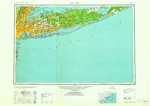 YellowMaps New York NY topo map, 1:250000 Scale, 1 X 2 Degree, Historical, 1958, 24.2 x 34.4 in - Paper