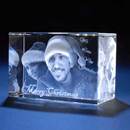 Personalized Custom 2D/3D Holographic Photo Etched Engraved Inside The Crystal with Your Own Picture (Birthday, Wedding Gift, Memorial, Mothers Day ...