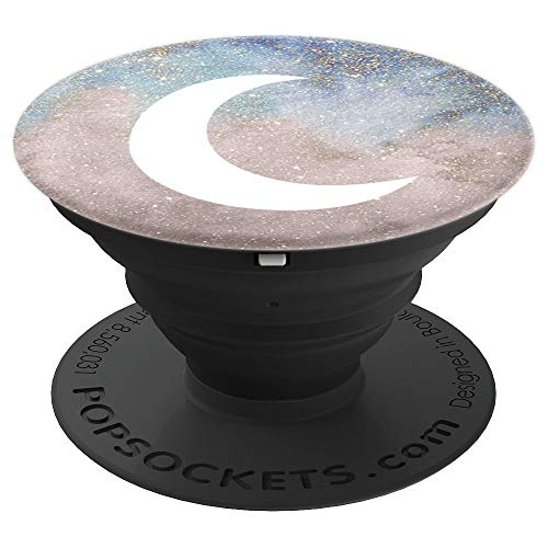 (Moon Stars Watercolor Dark Skies Clouds Stars Heavens Design - PopSockets Grip and Stand for Phones and Tablets)