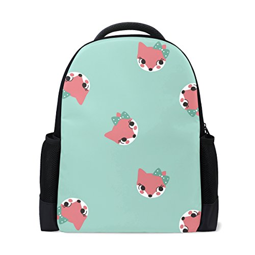 MONTOJ Cute Girl Fox with Bow Polyester Travel Backpack Laptop Backpack