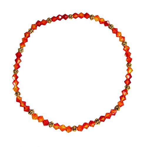 Firelight Crystal - Red Orange Firelight Crystal Beaded Stretch 9