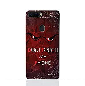 AMC Design Oppo R15 Mobile Protective Case with Don't Touch My Phone 3 Design - Red