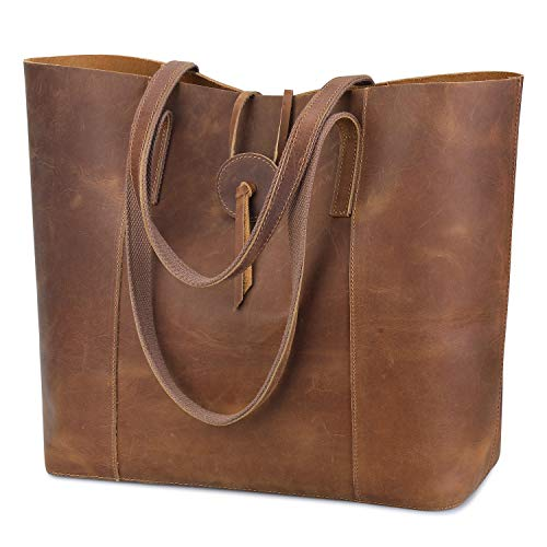 S-ZONE Vintage Women Genuine Leather Tote Bag Purse with Removable Pouch (Light Brown) Cow Leather Women Zipper