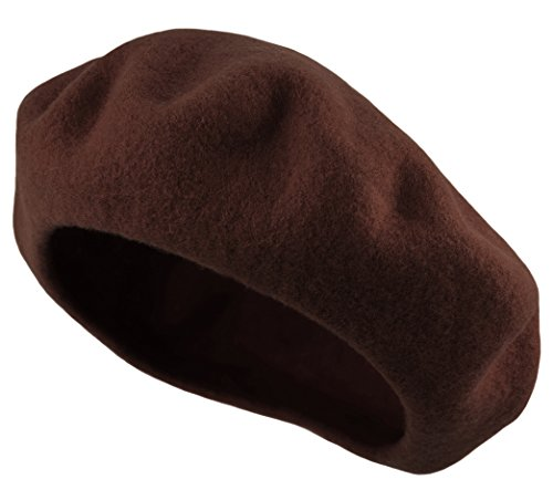 Womens Brown Wool - Deewang Women's Men's Solid Color Plain Wool French Beret One Size (Dark-Brown)