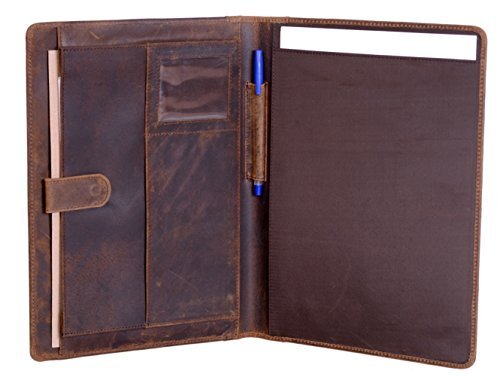 KomalC Leather Business Portfolio Folder Personal Organizer, Luxury Full Grain Leather Padfolio, Leather Folder ()