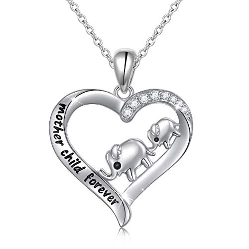 Sterling Silver Lucky Elephant Mother Child Forever Mama Elephant Love Heart Necklace for Mother's Day Gift, Rolo Chain 18