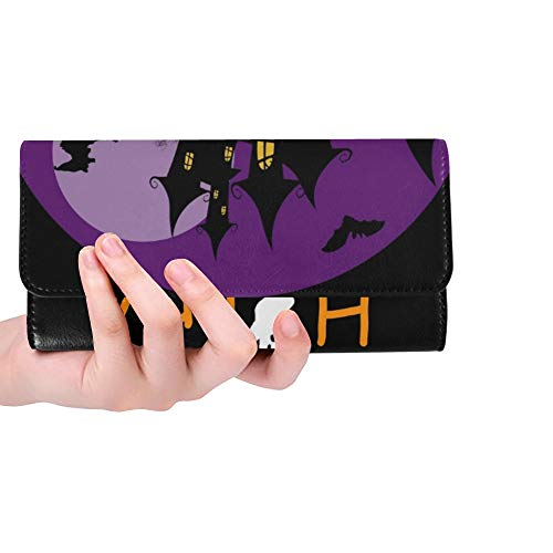 Unique Custom Halloween Haunted House Bats Full Women Trifold Wallet Long Purse Credit Card Holder Case Handbag -